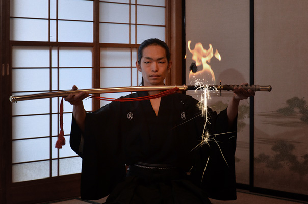 Fire Art in small tatami room.